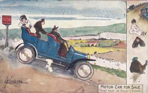 AS; Motor car for sale, Very fast on Hills (Down), 1900-10s; TUCK # 9086