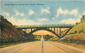 Omaha Nebraska~Dodge Highway Looking West~Bridge Overpass~1941 Postcard