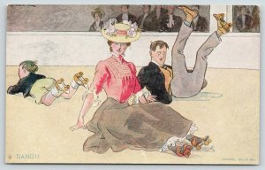Brill~Roller Rink Skating~Bang!! Boy Knocks Elegant Couple Down~1907 R Hill