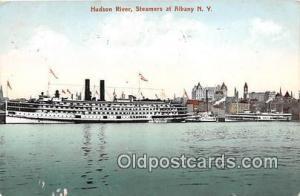 Hudson River Steamers at Albany NY USA Ship Postcard Post Card Steamers at Al...