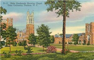 NC, Durham, North Carolina, Duke University, Main Quadrangle, Chapel, Curteich