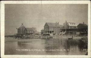 Quonochontaug RI Beach & Hotels c1920 Real Photo Postcard