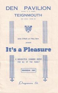 Teignmouth Den Pavillion Cornwall Musical Old Theatre Programme