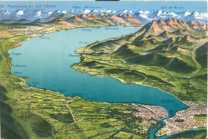 Switzerland, Panorama de Lac Leman early 1900s unused Pos...