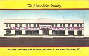 Baltimore MD Motor Sales Co. DeSoto Plymouth Auto Dealership 1954 Linen Postcard