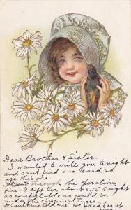 Little Girl wearing bonnet holding raven bird, Daisies, PU-1913