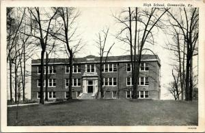 Greenville Kentucky~High School on Hilltop~Bare Trees~1930s CT Photo Finish~B&W