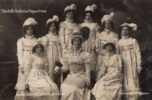 Queen Charlotte Maid Maids Of Honour Royalty Old 1909 Bath Pageant RPC Postcard