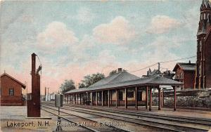 E8/ Lakeport New Hampshire Postcard 1909 B&M Railroad Depot 12
