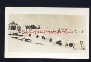 RPPC ALASKA ALASKAN DOG IGLOOS DOGS IGLOO VINTAGE REAL PHOTO POSTCARD