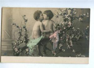 161743 Kids FAIRY in Garden KISS vintage PHOTO tinted PC