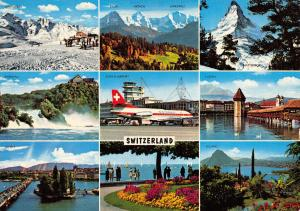 Vintage Giant Size Switzerland Multi View Postcard OS132
