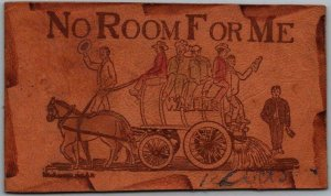 1907 LEATHER Greetings Postcard Alcohol Humor / Water Wagon No Room for Me