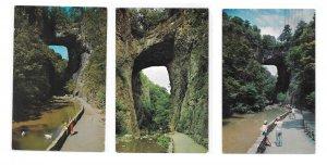Virginia Natural Bridge Tourists Cedar Creek Trail  3 Vintage 1960s Postccards