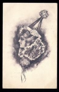 Lady in Clown Hat & Ruffled Collar s/Cobb Shinn used c1908