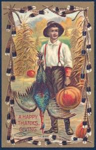 Happy Thanksgiving Man w/Pumpkin & Turkey used c1909