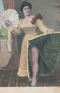 Upskirt Can Can Fan Risque Lady Teasing Suspenders Dance Old Antique Postcard