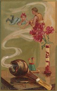 TUCK # 122; PU-1908; Couple in Pipe smoke, A Dream of Idle Hours