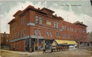 Anderson Indiana 1910 Postcard Elks Club Horse Cart