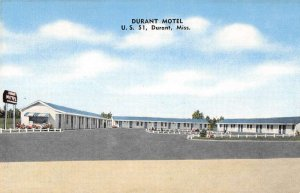Durant Mississippi birds eye view Durant Motel courtyard antique pc BB2976