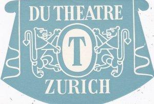 Switzerland Zurich Du Theatre Vintage Luggage Label sk4227