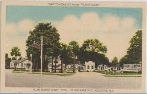 ST AUGUSTINE FL - PALMS TOURIST COURT HOTEL 1940s / street view