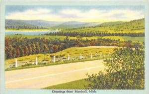 Marshall Michigan~Idyllic Country Scene~Fence Posts Along Road~1940s Linen Pc