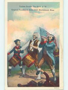 Pre-1980 patriotic USA FLAG IN THE SPIRIT OF 76 PAINTING ON POSTCARD HJ2911