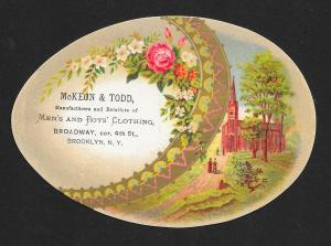 VICTORIAN TRADE CARDS (2) McKeon Todd Clothiers Egg Shape Flowers, Church, Birds