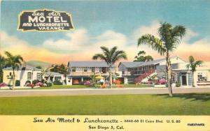 1940s Sea Air Motel Luncheonette San Diego California Roadside postcard 1379