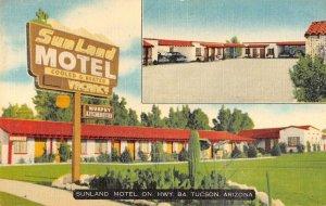 Tucson Arizona multi-views Sunland Motel linen antique pc ZA441362
