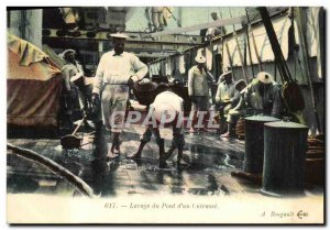 Old Postcard Boat War Washing the deck of a breastplate