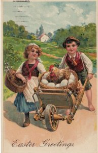 EASTER, PU-1909; Children pushing nesting hen on wheel barrel, PFB 8442