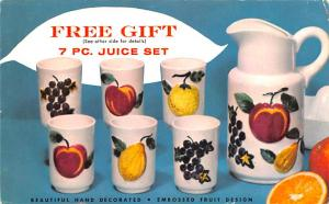 Houseware Advertising Old Vintage Antique Post Card Juice Set Postal Used Unk...