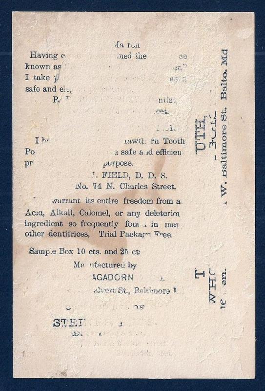 VICTORIAN TRADE CARD Hawthorn Tooth Powder