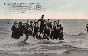 Having A High Old Time In the Surf Atlantic City New Jersey 1920