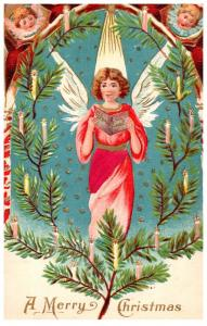 Christmas ,  Angel , red velour