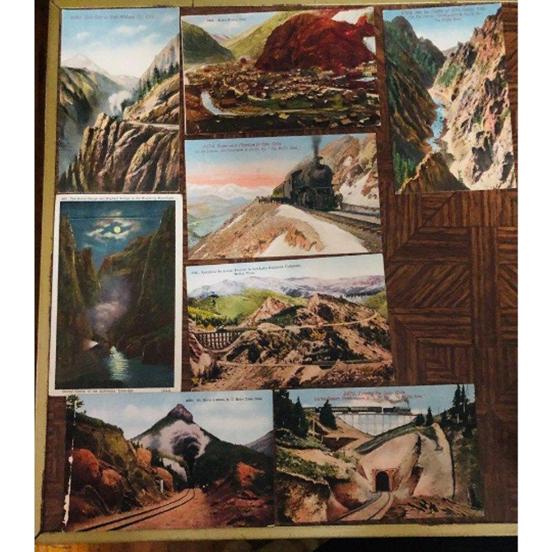 8 Postcards 1900's Colorado Railroads