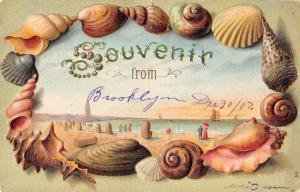 Brooklyn New York Beach Scene Sea Shell Border Vintage Postcard JE229005