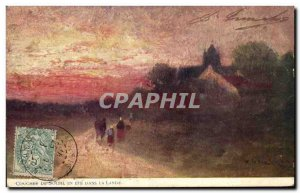 Old Postcard Sunset in summer in the heathland