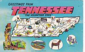 Greetings From Tennessee With Map 1961