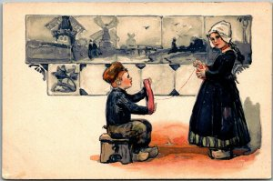 1910s PFB Embossed Postcard Dutch Boy & Girl / Yarn Ball Series 3939 UNUSED