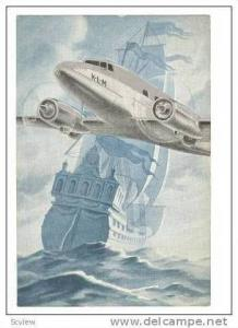 Art, KLM Airlines Plane Over Clipper Ship, 1950s