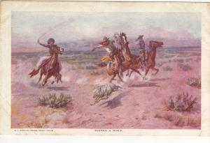 Charles Russel ; Roping a wolf , 00-10s ; Cowboys