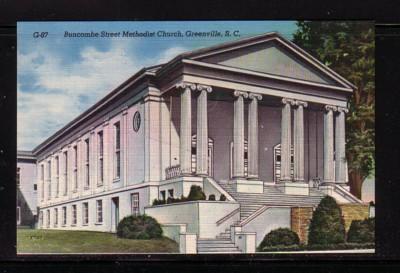 South Carolina colour PC Buncombe St Methodist Church Greenville, unused