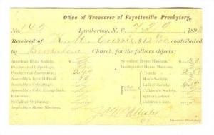 Treasurer of Fayetteville Presbytery, Lumberton, North Carolina, account stat...