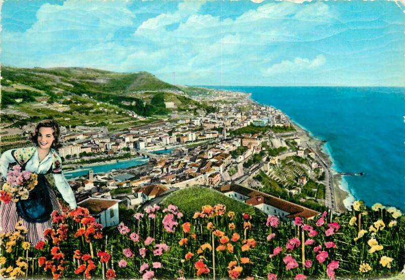 Italy Ventimiglia general view from west folk type semi-modern postcard