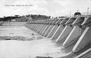Prairie Du Sac Wisconsin Power Dam Birdseye View Antique Postcard K101204