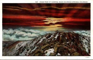 Colorado Pikes Peak At Sunrise 1936 Curteich