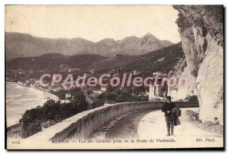 Old Postcard Menton Garavan View Taken From The Road Ventimiglia